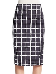 Saks Fifth Avenue Painted Plaid Scuba Midi Skirt Black White