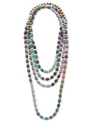 East Fabric Print And Wood Bead Neckl Lavender