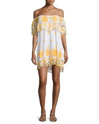 Miguelina Angelique Off The Shoulder Tropical Lace Coverup Dress White With Mango