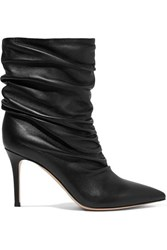 Gianvito Rossi Cecile 85 Ruched Leather Ankle Boots Black