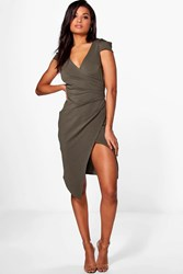 Boohoo Cap Sleeve Wrap Midi Dress Khaki