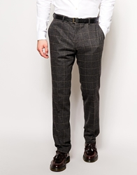 Peter Werth Italian Wool Large Check Suit Trousers In Slim Fit Charcoal