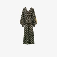 Loewe Check Suede Sleeve Maxi Dress Brown