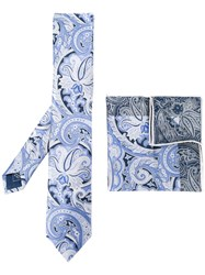 Brioni Printed Tie And Pocket Square Men Silk One Size Blue