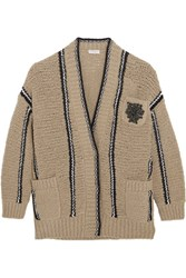 Brunello Cucinelli Embellished Striped Stretch Wool Blend Cardigan Beige