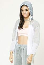 Forever 21 Two Tone Hooded Windbreaker White Grey