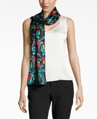 Echo Poppy Silk Oblong Scarf Black