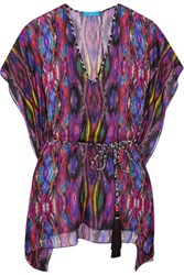 Matthew Williamson Sweetie Ragadang Printed Silk Chiffon Coverup Fuchsia