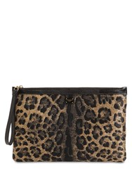 Dolce And Gabbana Leo Jacquard Pouch Beige