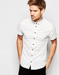 Blend Of America Blend Slim Shirt Short Sleeve Buttondown All Over Print In White Off White