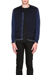 Sacai Contrast Sleeve Cardigan In Blue