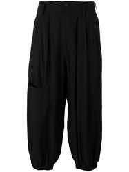 Yohji Yamamoto Loose Fit Pocket Trousers Black