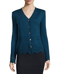 St. John Santana Knit V Neck Long Sleeve Pointelle Cardigan Sapphire Blue