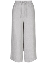 Jaeger Linen Wide Leg Cropped Trousers Grey Melange
