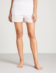 The White Company Gingham Patterned Cotton Pyjama Shorts Pink
