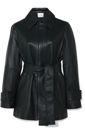 Vince Belted Leather Coat Emerald