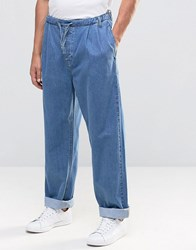 Asos Highwaisted Jeans With Drawstring Waist Mid Wash Blue