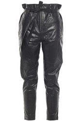 Iro Woman Instinct Cropped Lace Up Leather Tapered Pants Black
