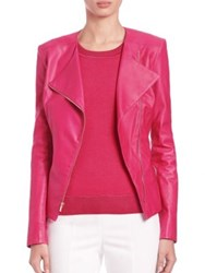 St. John Nappa Asymmetrical Zip Leather Jacket