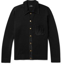 Dunhill Suede Trimmed Merino Wool Cardigan Black