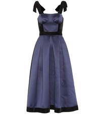 Huishan Zhang Victoria Satin Corset Dress Blue