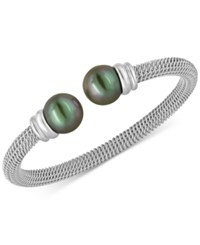 Majorica Bracelet Organic Man Made Black Pearl And Stainless Steel Bangle Bracelet Silver