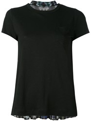 Sacai Pleated Back T Shirt Women Linen Flax Polyester 3 Black