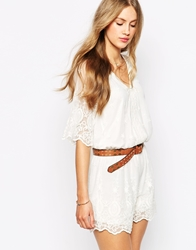 Mango All Over Crochet Playsuit Cream