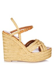Saint Laurent Espadrille Wedge Sandals Cream