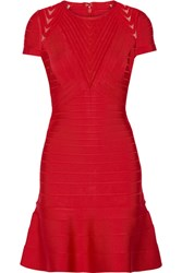 Herve Leger Hillary Tulle Trimmed Bandage Dress Red