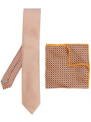 Canali Printed Tie And Handkerchief Nude And Neutrals