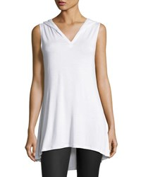 Neiman Marcus Hooded Sleeveless V Neck Tunic White