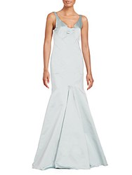 J. Mendel Modified V Neck Mermaid Gown Light Blue