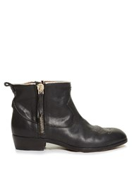 Golden Goose Anouk Western Distressed Leather Ankle Boots Black