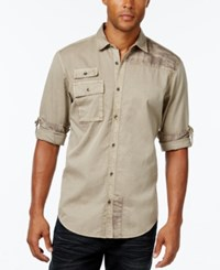 Inc International Concepts Men's Polonius Camo And Solid Long Sleeve Shirt Only At Macy's Taupe