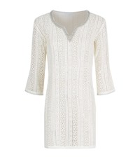 Elizabeth Hurley Beach Crystal Embellished Crochet Tunic Female White