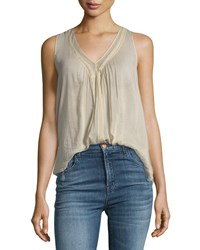 Giada Forte Cotton Silk Voile Top With Lace Beige