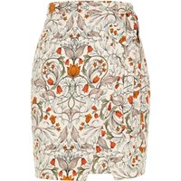 River Island Womens Cream Retro Print Wrap Mini Skirt