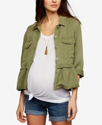 A Pea In The Pod Maternity Peplum Jacket Olive