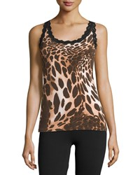 Josie Natori Animal Print Lace Trim Camisole Brown