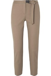 Brunello Cucinelli Belted Cropped Cotton Blend Gabardine Slim Fit Pants Tan