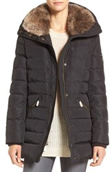 Michael Michael Kors Women's Down And Feather Hooded Coat With Faux Fur Trim