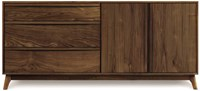 Copeland Furniture Catalina 3 Drawer On Left 2 Door On Right Dresser 04 Natural Walnut Conventional Lacquer Multicolor