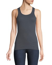 Allen Allen Fitted Ribbed Tank Gray