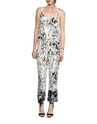French Connection Copley Crepe Jumpsuit Summer White Black