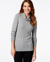 Karen Scott Long Sleeve Turtleneck Cable Knit Sweater Only At Macy's Heather Grey