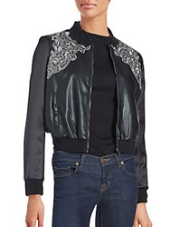 Bagatelle Brocade Pleather Bomber Jacket Black