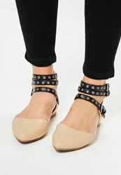 Missguided Nude Multistrap Pointy Ballerina Shoes