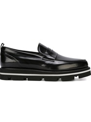 Msgm Almond Toe Penny Loafers Black