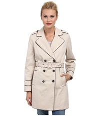 Yumi Classic Trench W Contrast Piping And Bird Lining Detail Stone Women's Coat White